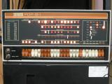 Front panel of PDP-8/I showing red LEDs replacing burnt out bulbs